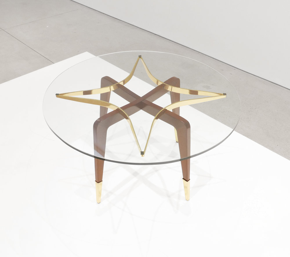 Paolo Buffa, Italian Mid-Century Coffee Table, c. 1950 - 1959, Brass, Wood, Glass, 18 H x 29.5 W inches_3.jpg