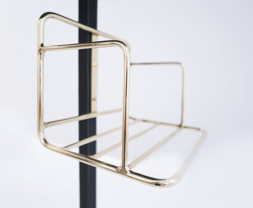 Jacques Adnet, Stitched Leather and Brass Gueridon, c. 1955, Black Glass Top, Leather, Brass, 27 H x 23 W x 23 D inches_3.jpg