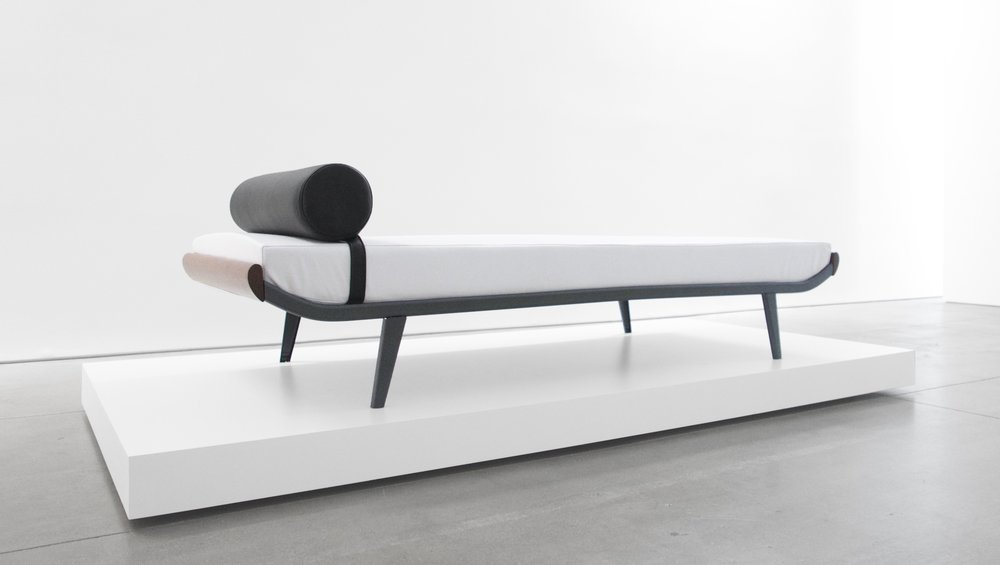 2. A.R. Cordemijer, 'Cleopatra' Daybed for Auping, c. 1960s, leather, teak, powder-coated metal, 23H x 32W x 76.5L inches.jpg