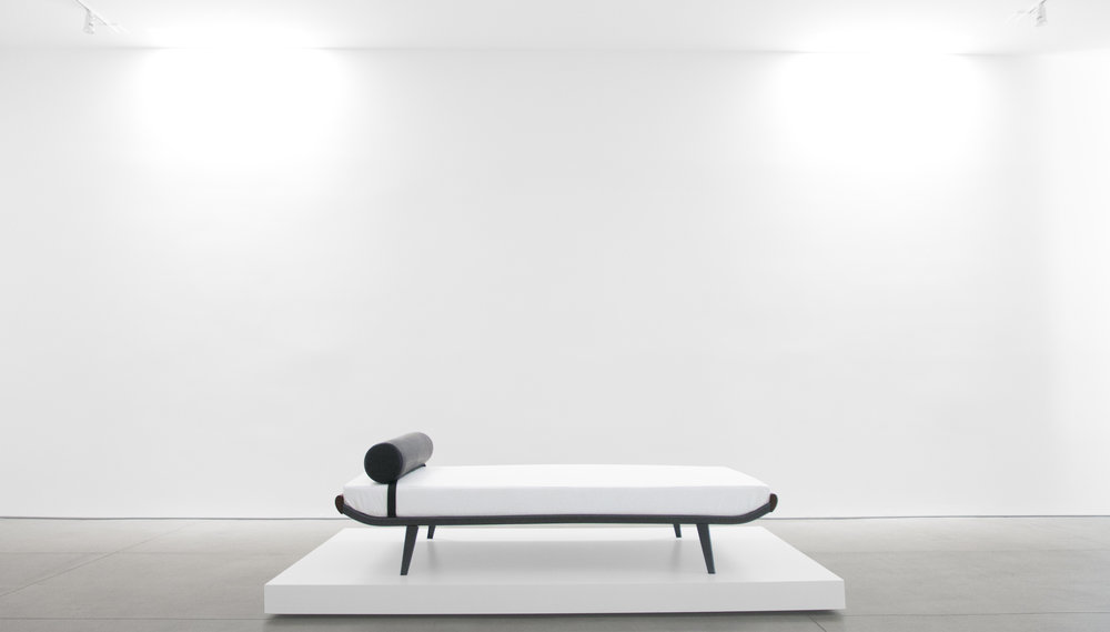 1. A.R. Cordemijer, 'Cleopatra' Daybed for Auping, c. 1960s, leather, teak, powder-coated metal, 23H x 32W x 76.5L inches.jpg