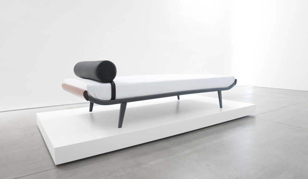 5. A.R. Cordemijer, 'Cleopatra' Daybed for Auping, c. 1960s, leather, teak, powder-coated metal, 23H x 32W x 76.5L inches.jpg