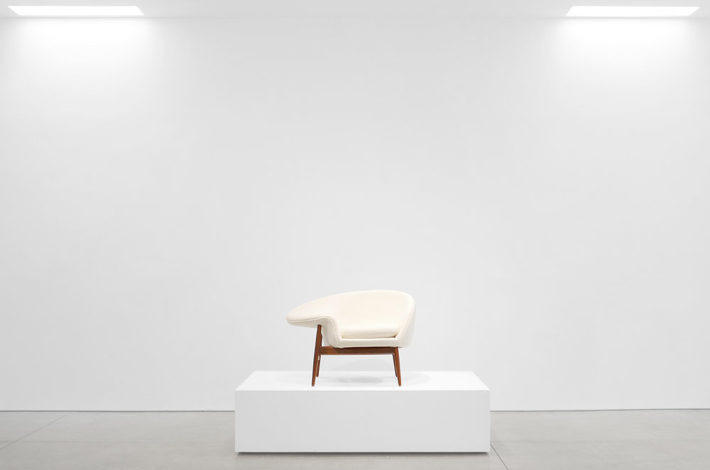 Hans Olsen %22Fried Egg%22 Chair, c. 1956, Holland & Sherry White Chamonix Boiled Wool, Teak, 26 H x 40 W x 30 D inches_2.jpg
