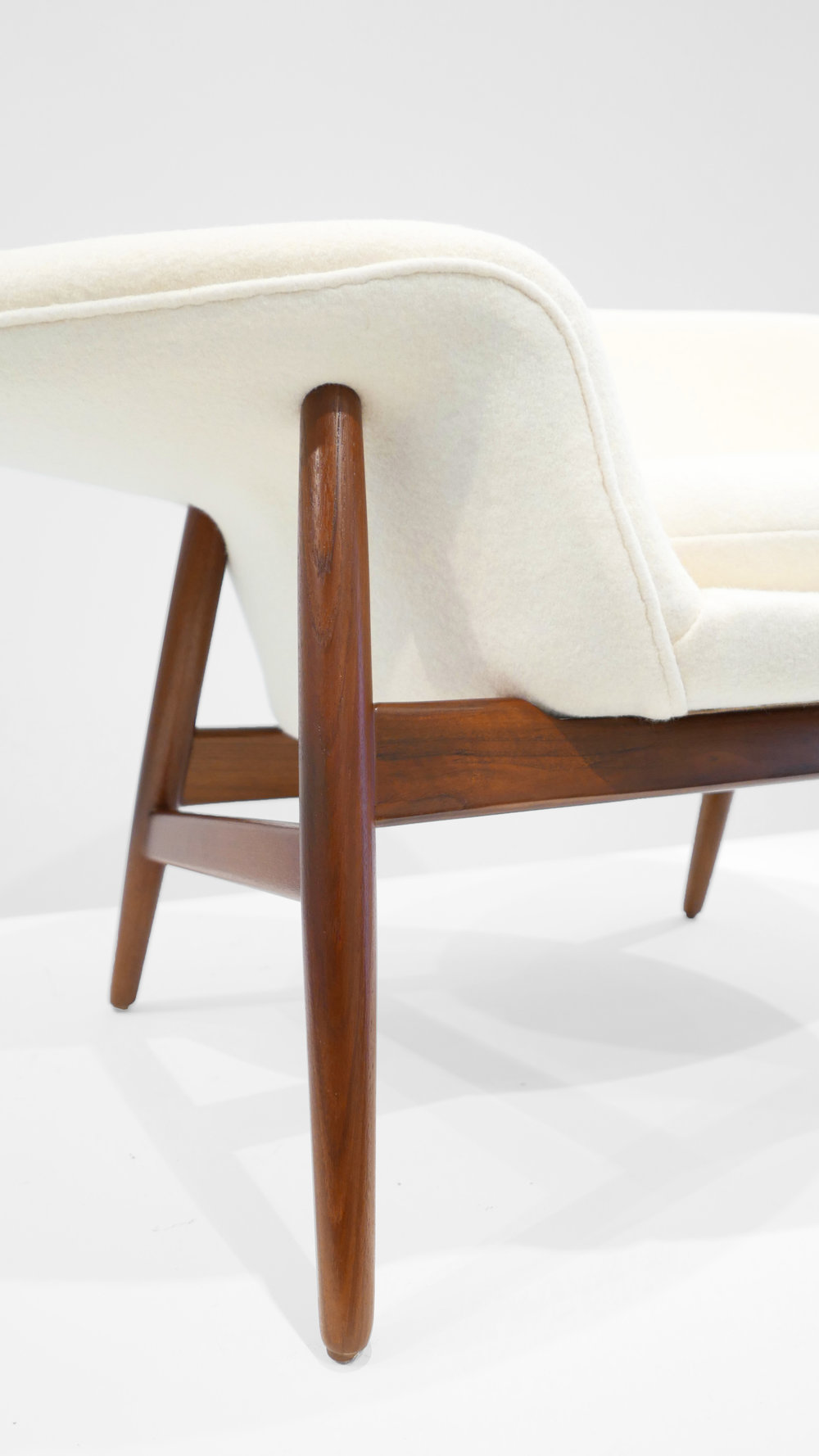 Hans Olsen %22Fried Egg%22 Chair, c. 1956, Holland & Sherry White Chamonix Boiled Wool, Teak, 26 H x 40 W x 30 D inches_3.jpg