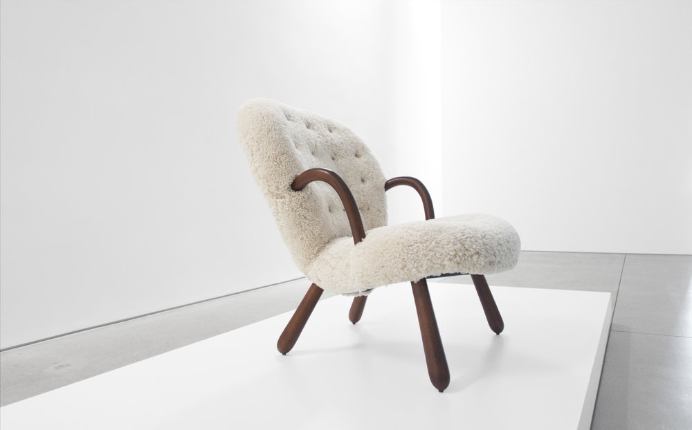 2. Philip Arctander, %22'Clam' Chair,%22 c. 1940s, birchm sheepskin, 32.5H x 26W x 32D inches.jpg