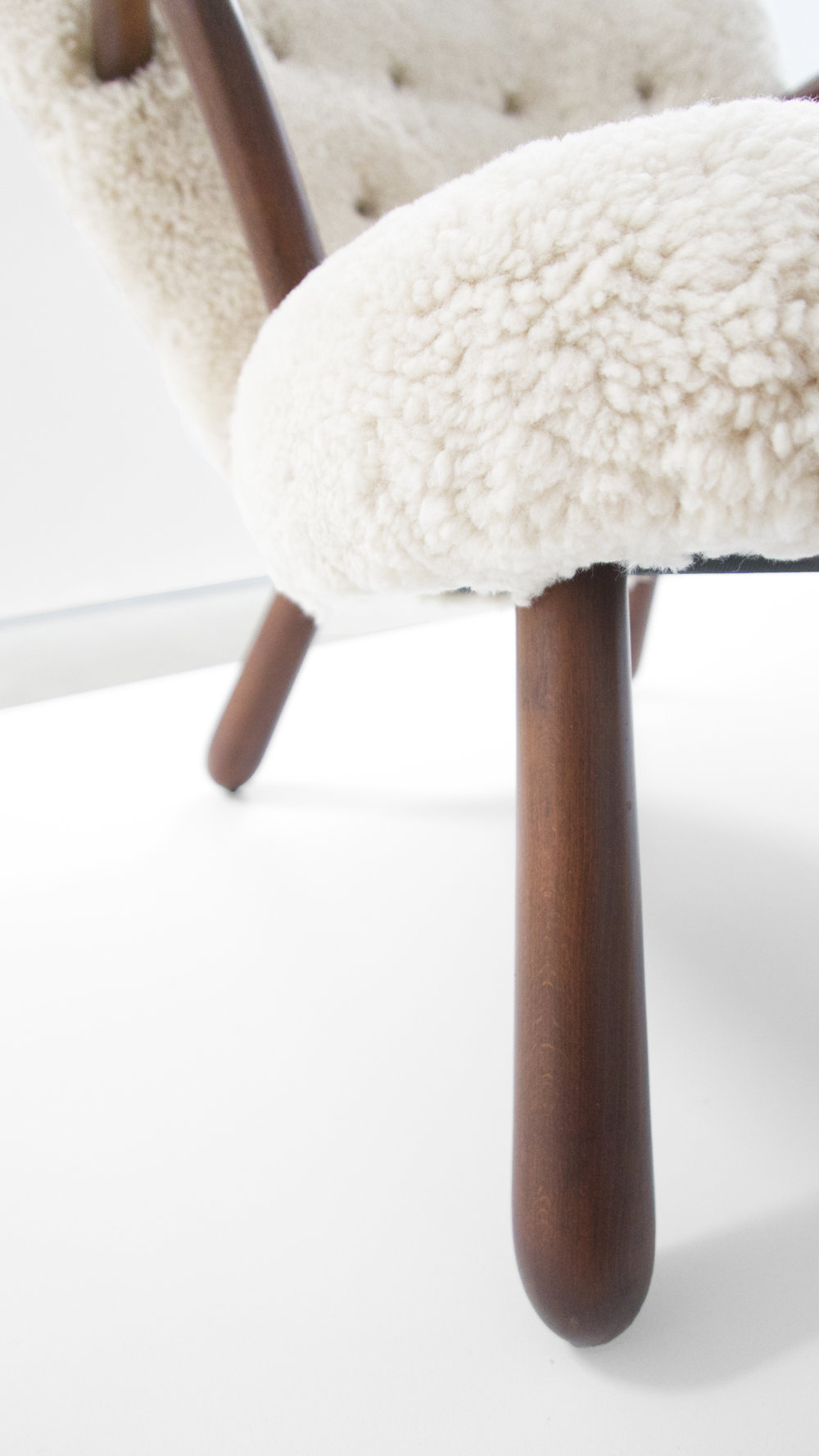 6. Philip Arctander, %22'Clam' Chair,%22 c. 1940s, birchm sheepskin, 32.5H x 26W x 32D inches.jpg