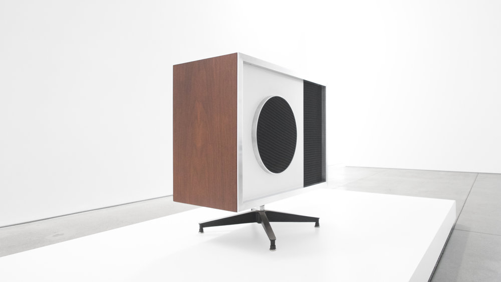 5. Charles and Ray Eames, EAMES Speaker, 1956, lacquered wood, laminate, polished and enameled aluminum, 28.5H x 30W x 13.5D inches.jpg