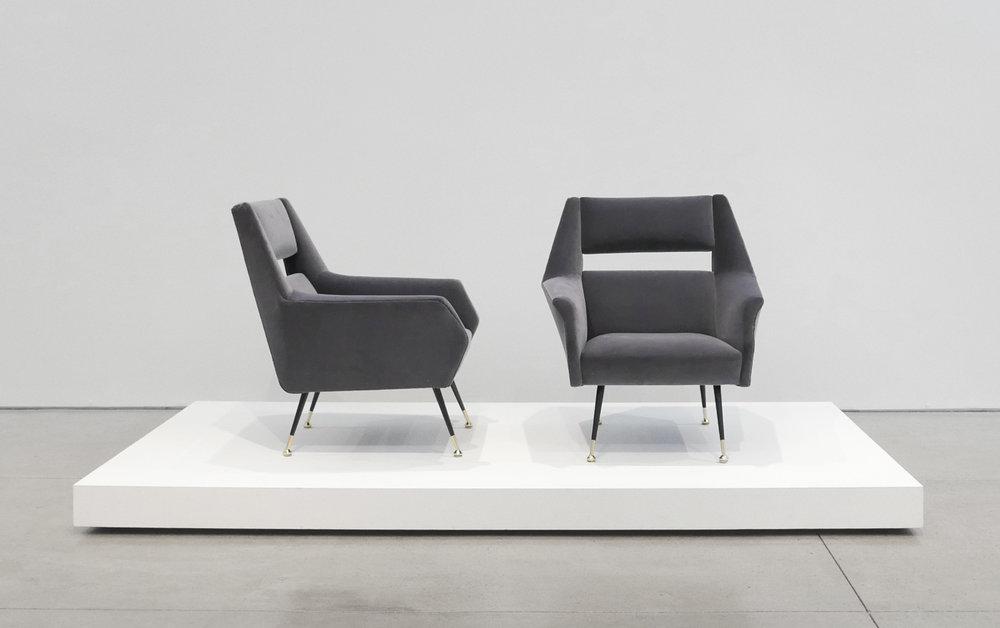 Gigi Radice Velvet Chairs for Minotti, c. 1950 - 1959, Dedar Milano Velvet, Brass, 31 H x 28 W x 29 D inches_1.jpg