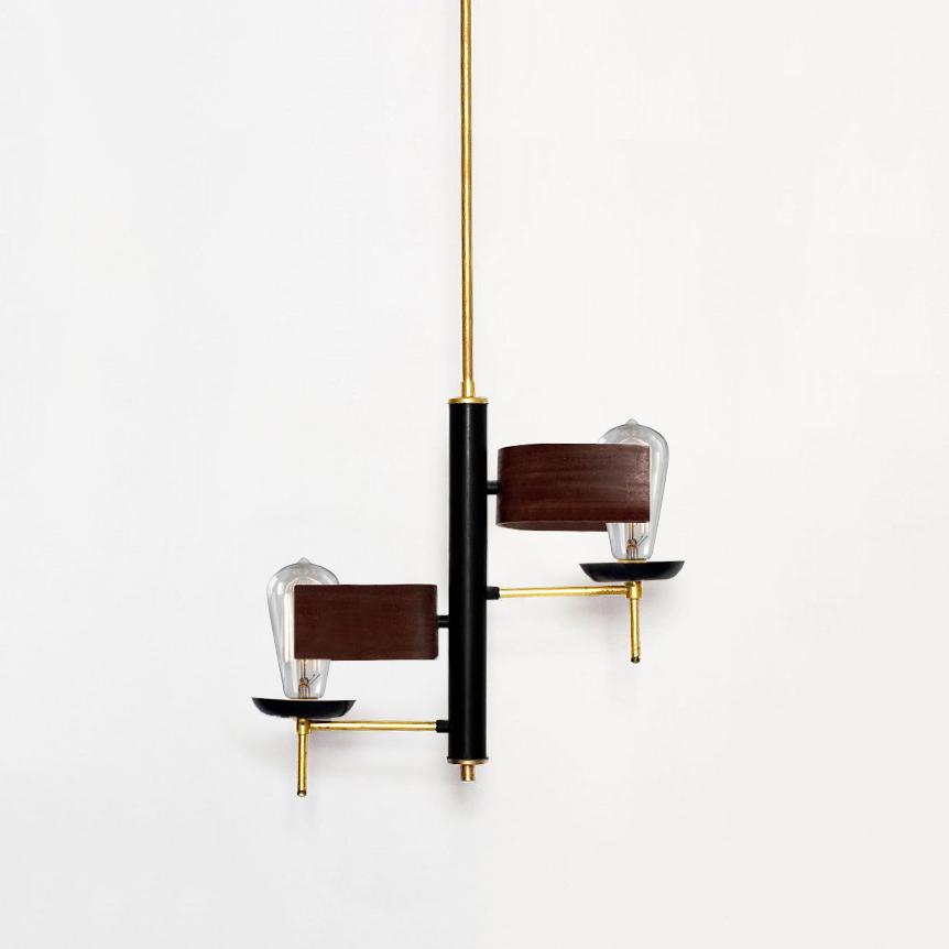 Stilnovo, Two Lights  Chandelier, Brass, Varnished Metal, c. 1960, 33 H x 15 Diamter inches_1.jpg