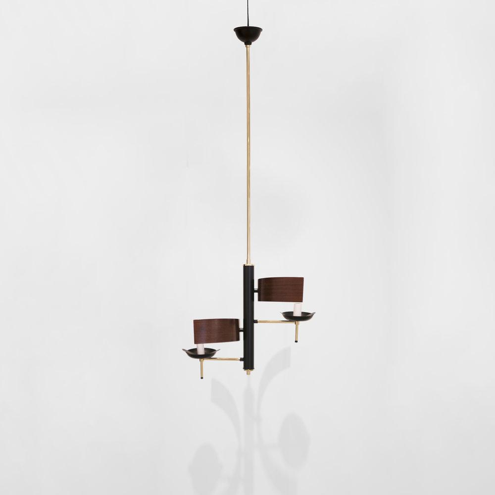 Stilnovo, Two Lights  Chandelier, Brass, Varnished Metal, c. 1960, 33 H x 15 Diamter inches_3.jpg