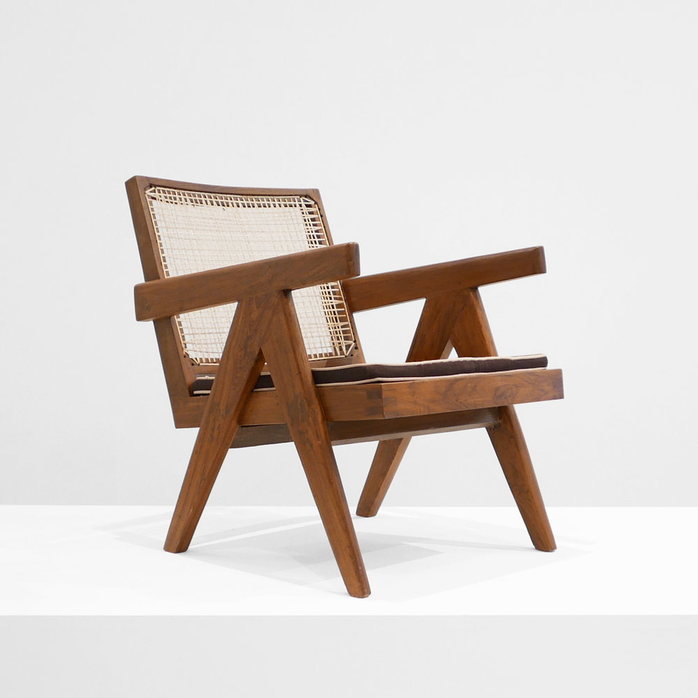 Pierre Jeanneret, Low lounge chair, model PJ-SI-29-A, c. 1955, teak, cane, 24.5H x 20.5W x 29.5D inches_1 s.jpg