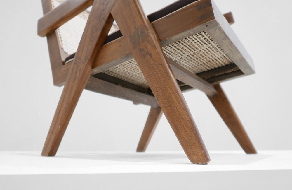 Pierre Jeanneret, Low lounge chair, model PJ-SI-29-A, c. 1955, teak, cane, 24.5H x 20.5W x 29.5D inches_6.jpg
