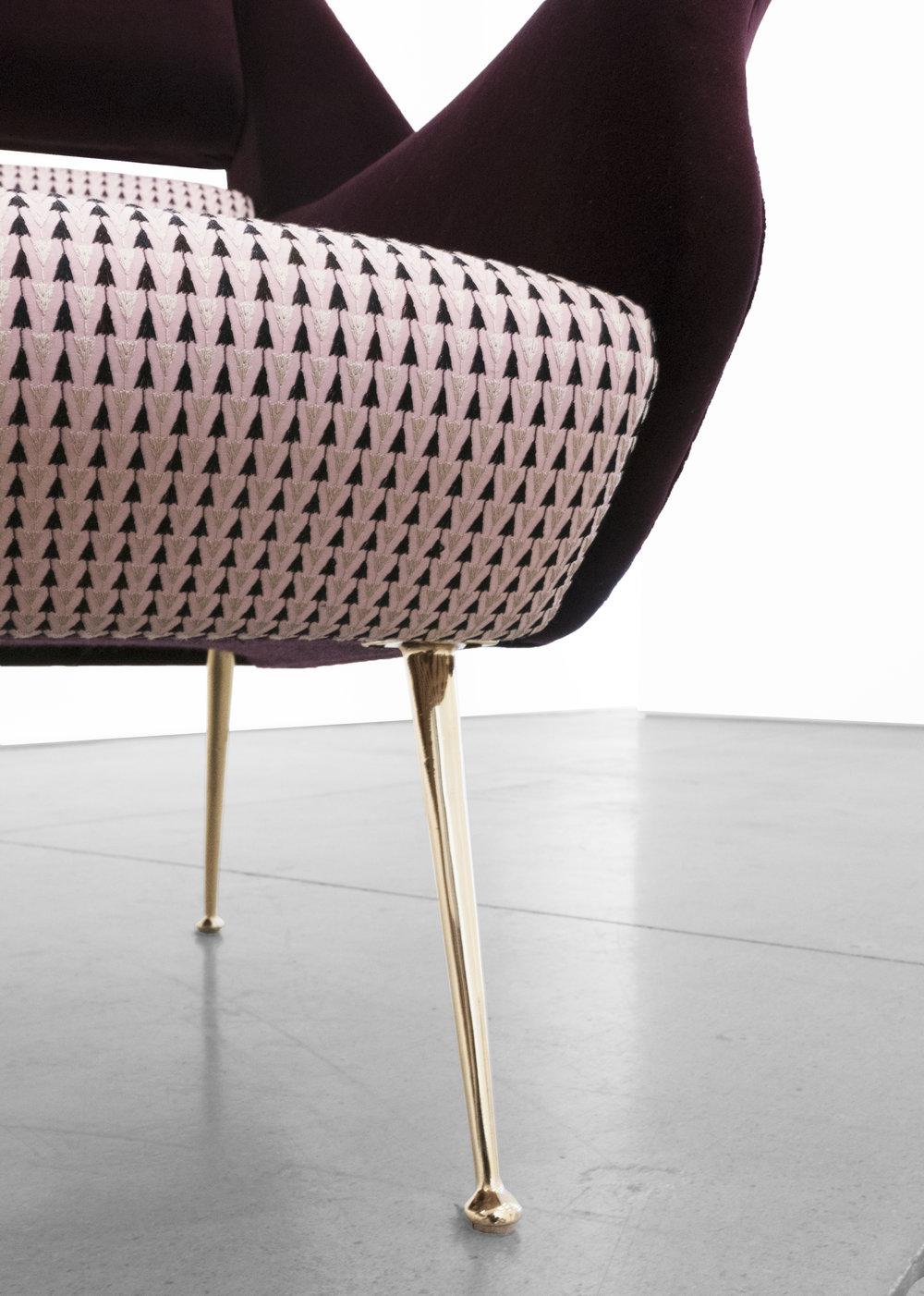 Gigi Radice, Chairs for Minotti, c. 1950 - 1959, Brass, Dedar Milano Upholstery, 31 H x 28 W x 29 D inches_6.jpg