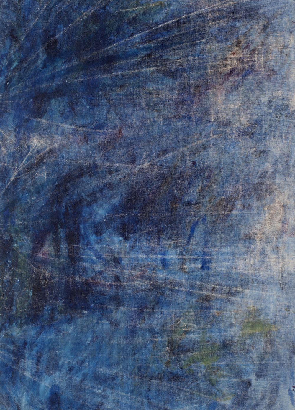 "rotational moments guided by a sand bar  2018 mixed media on linen 70 x 50""   INQUIRE"
