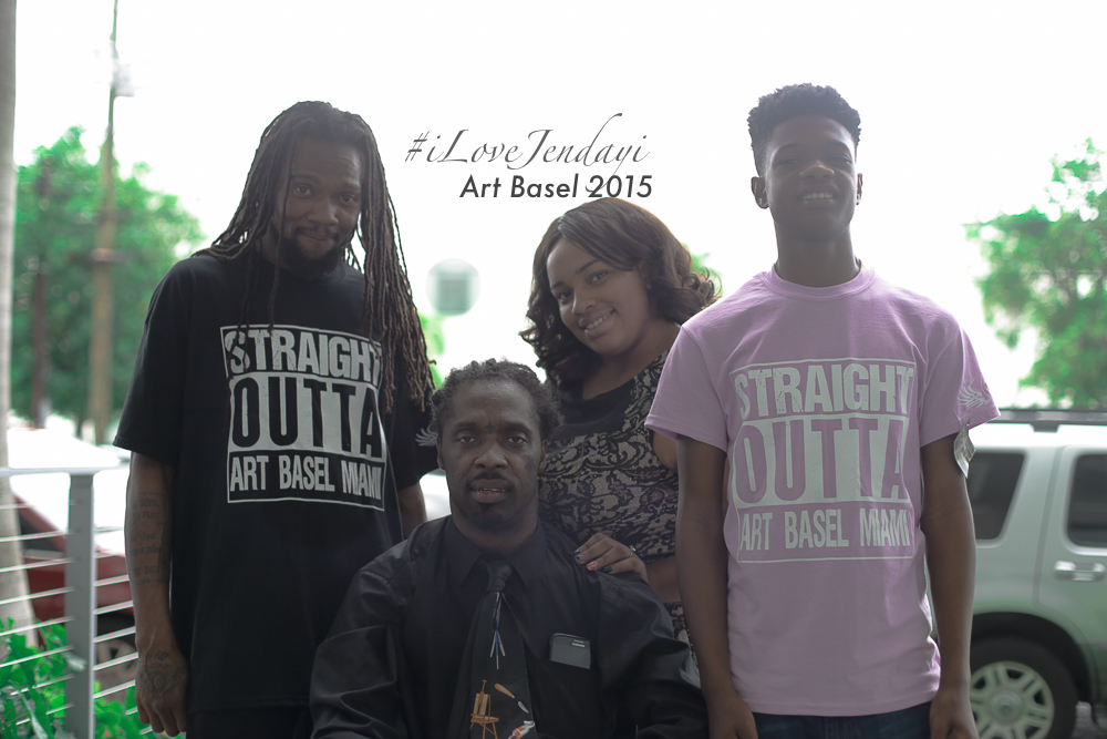 "One of our extremely talented Artist Karl Coleman surrounded by his team of family! He provided the fun ""Straight Outta Art Basel Miami"" tees inspired by the great Straight Outta Compton movie!"