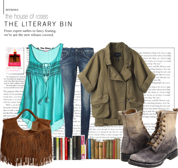 Lit. Bin  por  the-house-of-roses  usando  blue jeans  ❤ liked on Polyvore        Calypso St Barth collared shirt  /  Isabel Marant brown jacket  /  G-Star Raw blue jeans , $59 /  Frye army boots  /  Ralph Lauren Collection brown handbag