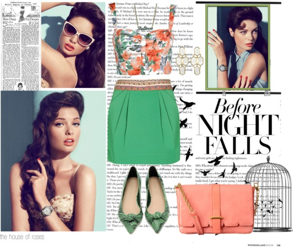 Before Night Falls by the-house-of-roses featuring a crossbody purse ❤ liked on Polyvore Crop top, $13 / Monsoon green skirt, $70 / Loeffler Randall flat shoes / Orla Kiely crossbody purse / Kara ross earrings / Disney Couture turquoise jewelry, $3.27