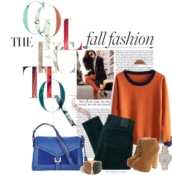 Falling by the-house-of-roses featuring a leather purse ❤ liked on Polyvore Orange sweater / Nobody Denim skinny jeans, $90 / High heel boots / Diane Von Furstenberg leather purse / GUESS snake bracelet / Burberry red bracelet