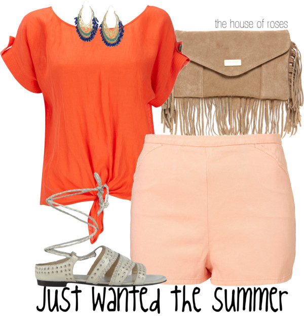 Just Wanted the Summer  by  the-house-of-roses  featuring a  leather purse  ❤ liked on Polyvore        Wallis shirts blouse  /  Highwaisted shorts  /  AllSaints flat shoes  /  River Island leather purse  /  Isharya hoop earrings