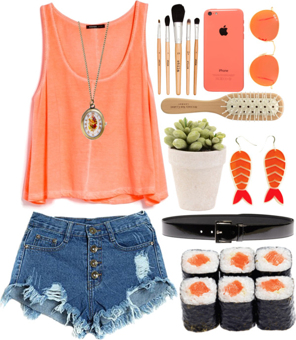 \Queen Of The Koi\  por  scourduff  con  flower pots  ❤ liked on Polyvore        Mango scoop neck tee , $25 /  Jean shorts  /  My Secret Agent Lover Man orange earrings , $45 /  Antique jewelry  /  Prada black belt , $200 /  Tech accessory  /  Ray-Ban sunglasses  /  Stila makeup brush  /  Michael Van Clarke hair brush  /  Flower pot
