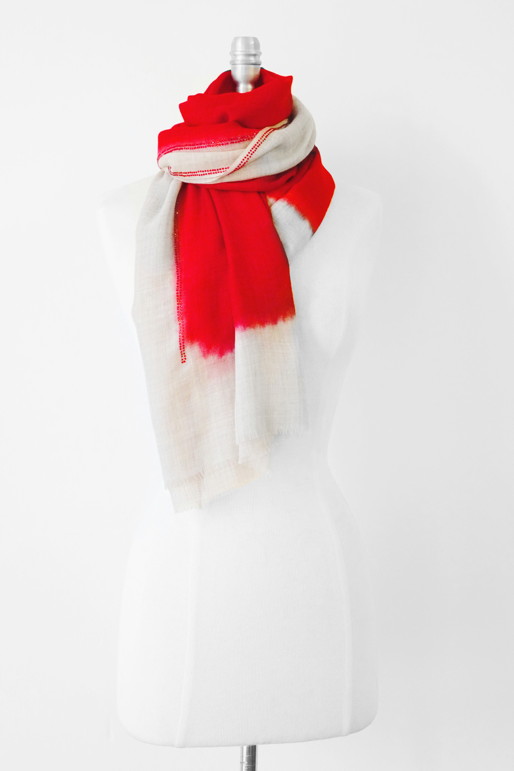 "Style No: #8144  Color: Banana Milk with Red  Quality: Wool Silk  Size: 24"" x 75"""