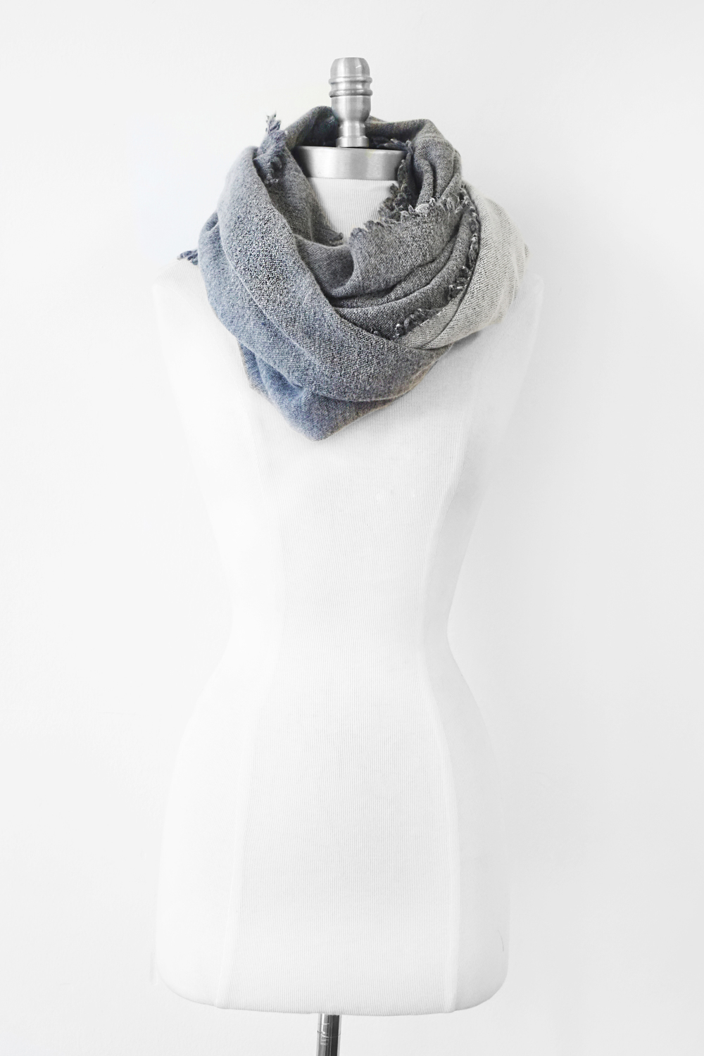 """Style No.: #8052  Color: Grey Blue  Quality: Wool Nylon  Size: 20"""" x 80"""""""
