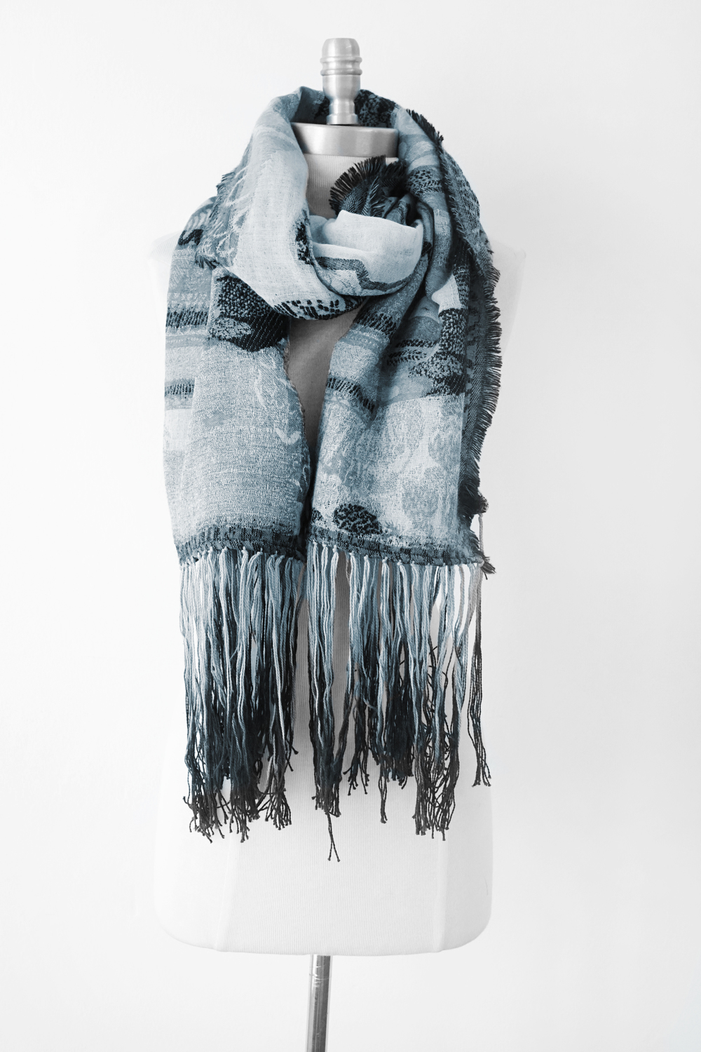 """Style No.: #8263  Color: Grey Black  Quality: Wool Mohair  Size: 27"""" x 72"""""""