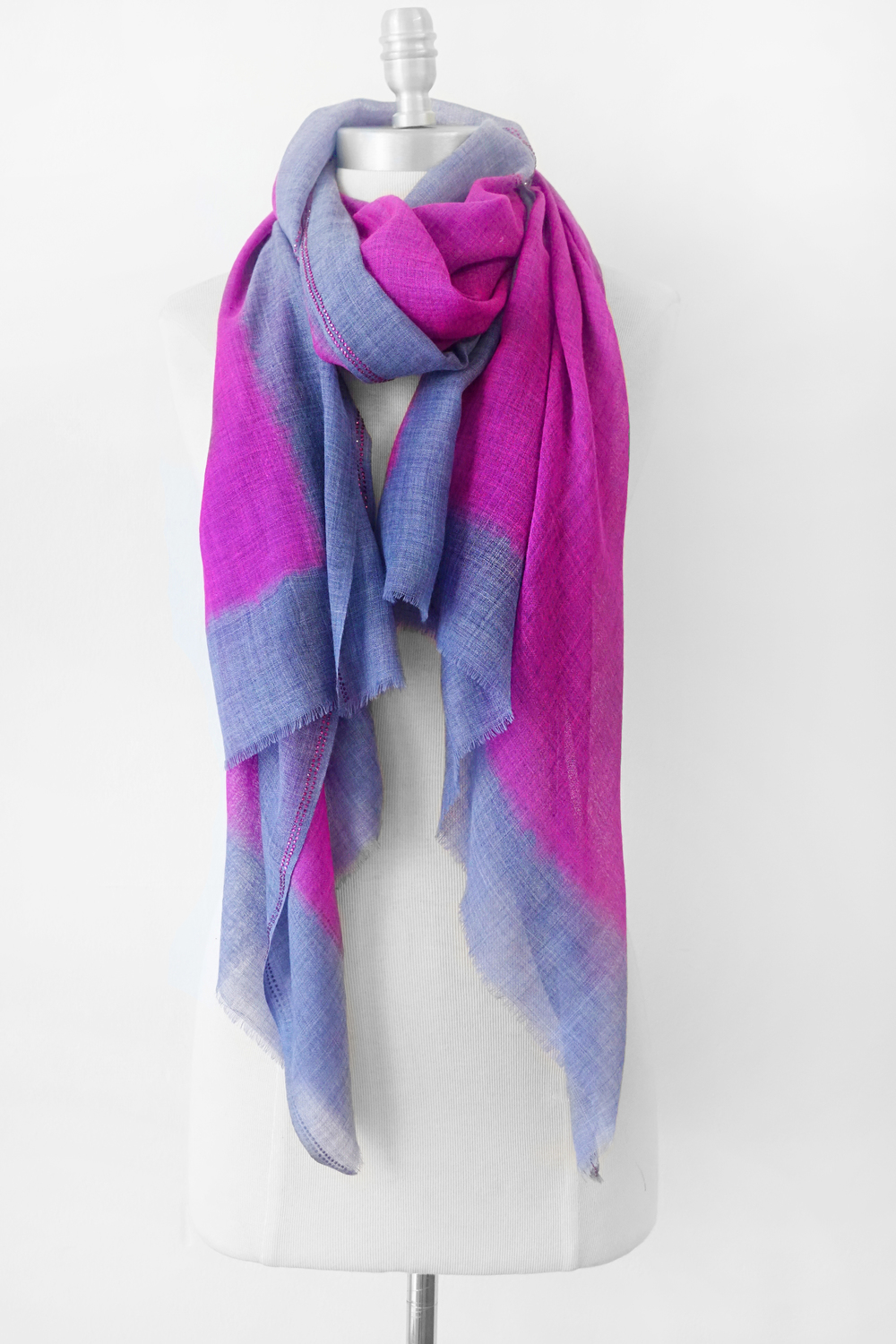 "Style No.: #8144  Color: Grey with Beetroot Purple  Quality: Wool Silk  Size: 24"" x 75"""
