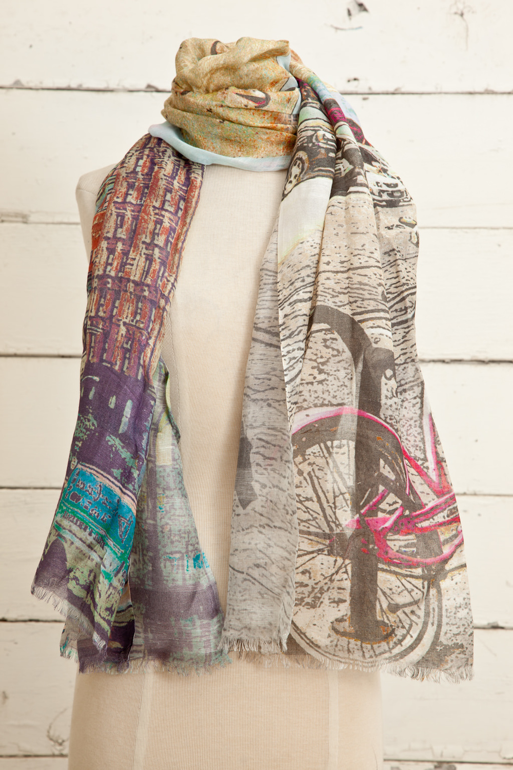 """Style No.: #8647  Color: Lilac Grey Multi  Quality: Modal Linen  Size: 30"""" x 72"""""""