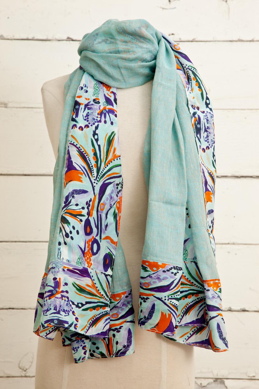 """Style No.: #8782  Color: Aqua Chalk  Quality: Linen Silk  Size: 34"""" x 76"""""""