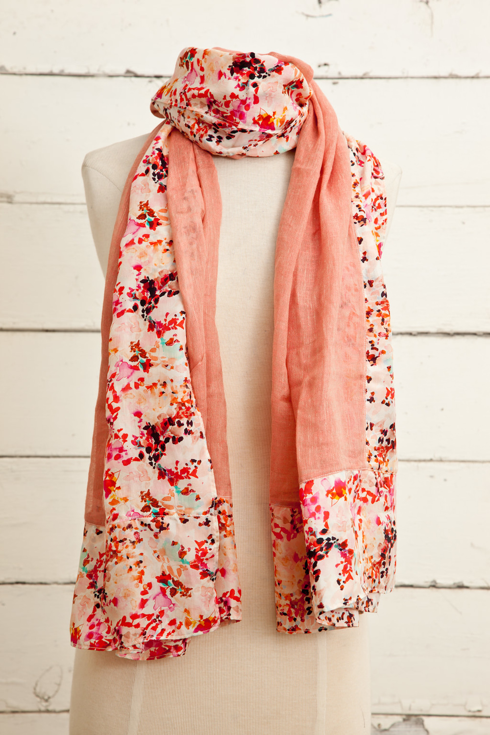 """Style No.: #8786  Color: Peach Amber  Quality: Linen Silk  Size: 34"""" x 76"""""""