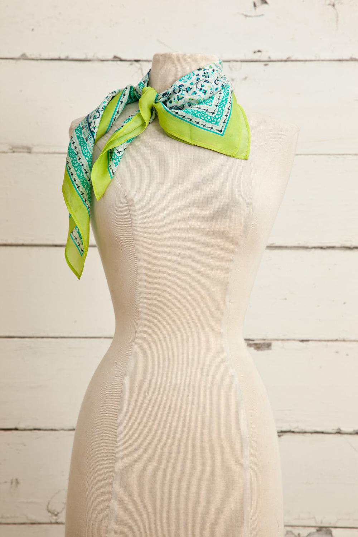 "Style No.: #8678  Color: Margarita Lime  Quality: Habutai Silk  Size: 26""x 26"""