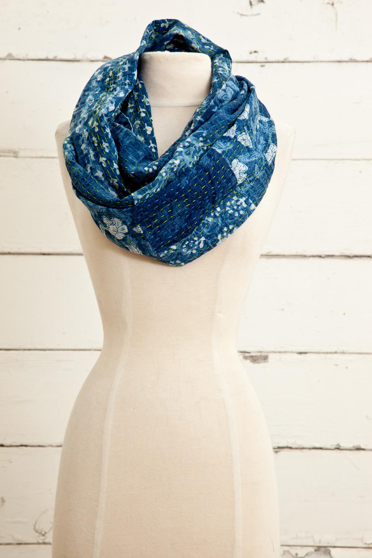 "Style No.: #8625  Color: Indigo Blue  Quality: 100% Cotton  Size: 19"" x 64"" (Infinity)"