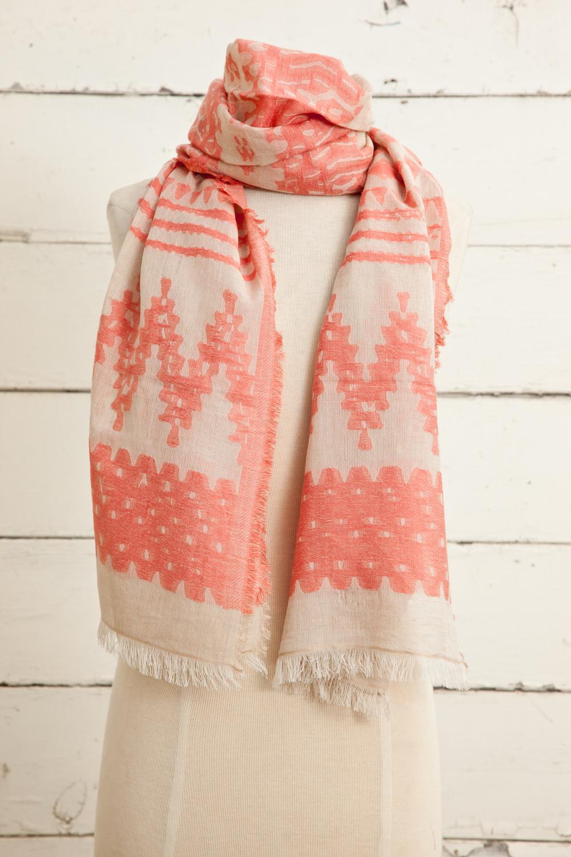 "Style No.: #8605  Color: Peach Amber  Quality: Cotton Modal Linen  Size: 28"" x 72"""