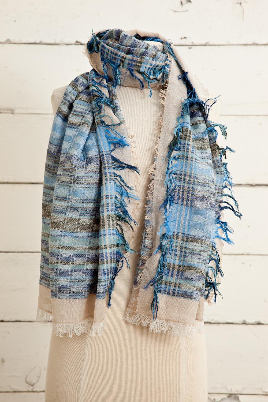 """Style No.: #8615  Color: Lunar Tide Blue  Quality: Cotton Modal Linen  Size: 28"""" x 72"""""""