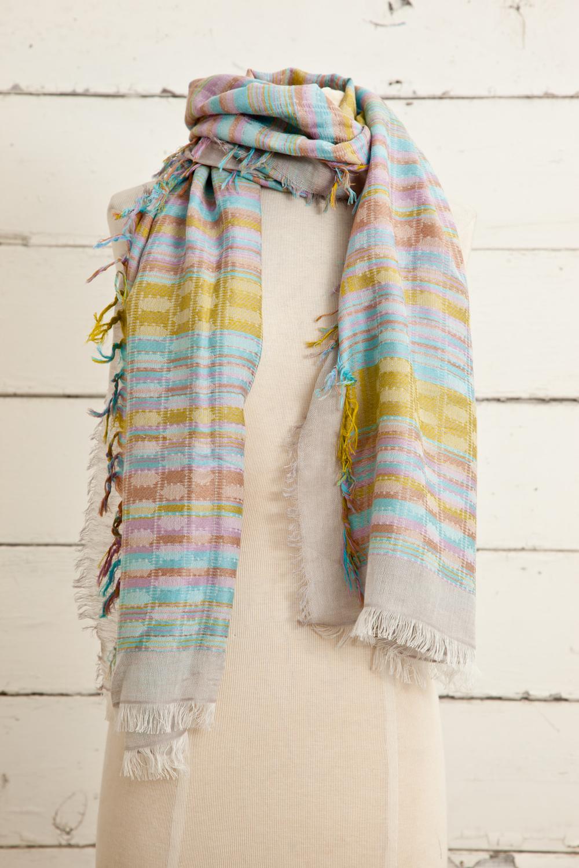 """Style No.: #8615  Color: Aqua Pink Multi  Quality: Cotton Modal Linen  Size: 28"""" x 72"""""""