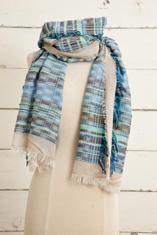 """Style No.: #8615  Color: Aqua Blue Turq  Quality: Cotton Modal Linen  Size: 28"""" x 72"""""""