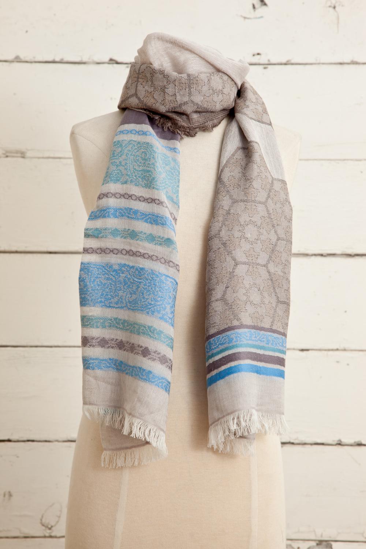 "Style No.: #8604  Color: Matin Blue  Quality: Cotton Modal Linen  Size: 28"" x 72"""