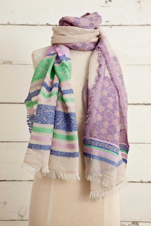 "Style No.: #8604  Color: Cosmic Lavender  Quality: Cotton Modal Linen  Size: 28"" x 72"""