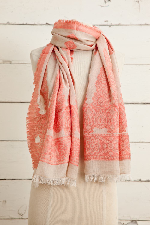 "Style No.: #8609  Color: Peach Amber  Quality: Cotton Modal Linen  Size: 28"" x 72"""