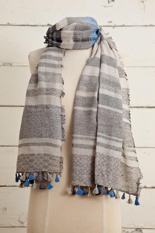 "Style No.: #8600  Color: Grey  Quality: Cotton Modal Linen  Size: 28"" x 72"""