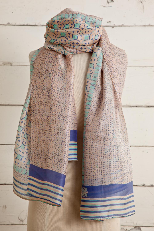 "Style No.:#8666  Color: Sandstorm Peach  Quality: Habutai Silk  Size: 44"" x 80"""