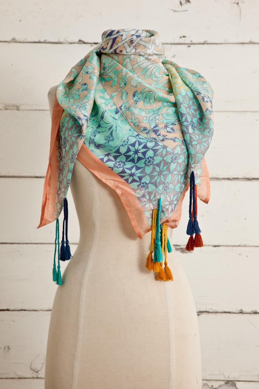 """Style No.: #8661  Color: Peach Parfait  Quality: Habutai Silk  Size: 41"""" x 41"""""""