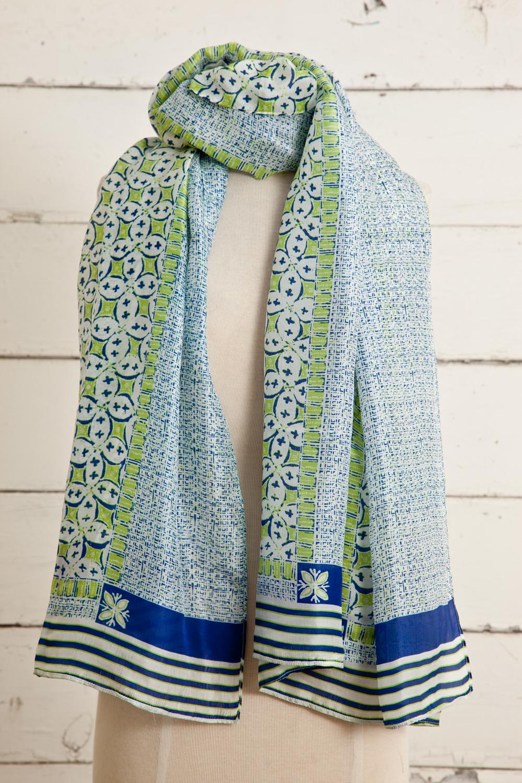 "Style No.:#8666  Color: Indigo Navy  Quality: Habutai Silk  Size: 44"" x 80"""