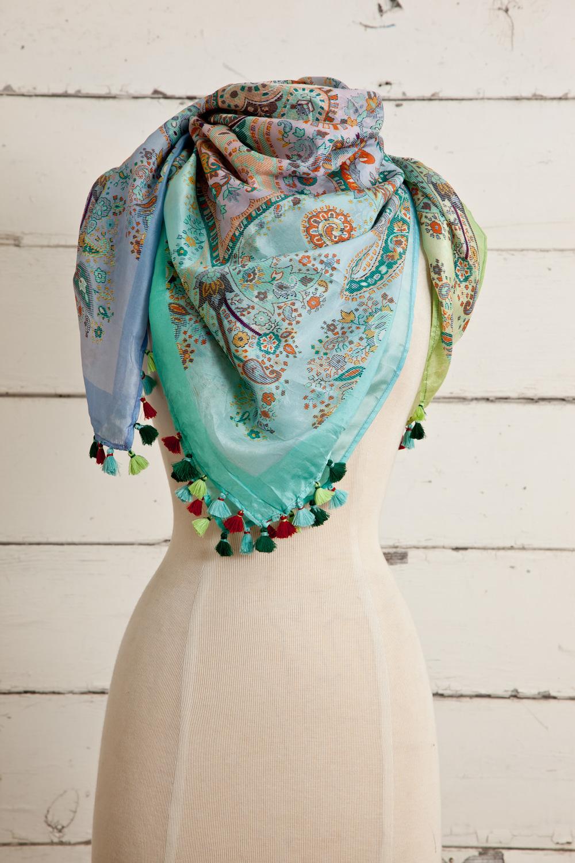 "Style No.: #8664  Color: Pastel Multi  Quality: Habutai Silk  Size: 41"" x 41"""