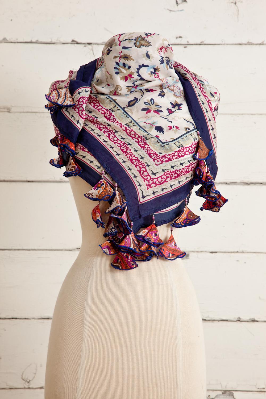 "Style No.: #8665  Color: Rasberry Blue  Quality: Habutai Silk  Size: 41"" x 41"""