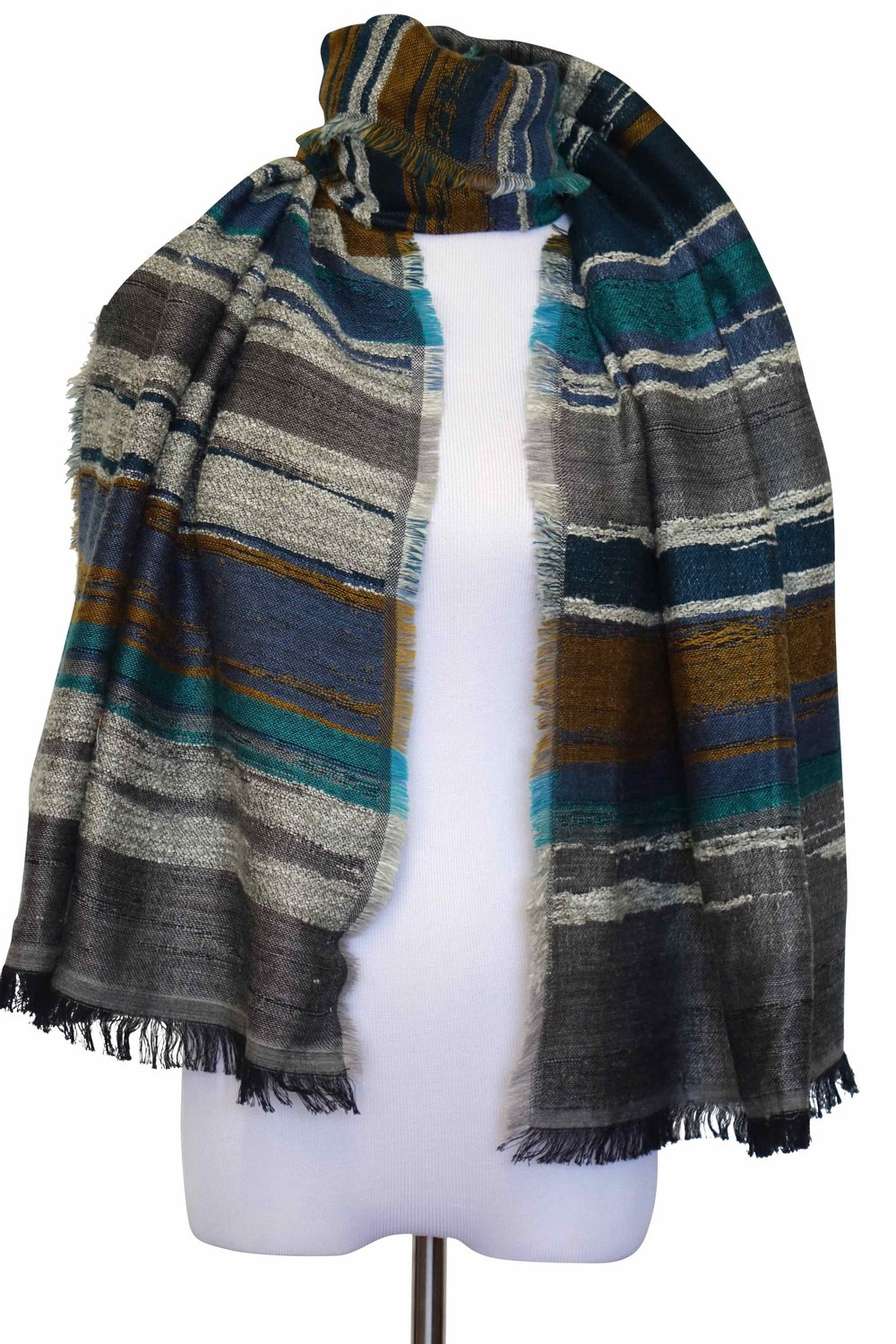 STYLE NO: 11197  COLOR: GREY MULTI  QUALITY: 8%WOOL 42% ACRYLIC 42% COTTON 8% POLYESTER  SIZE: 70 X 180 CM