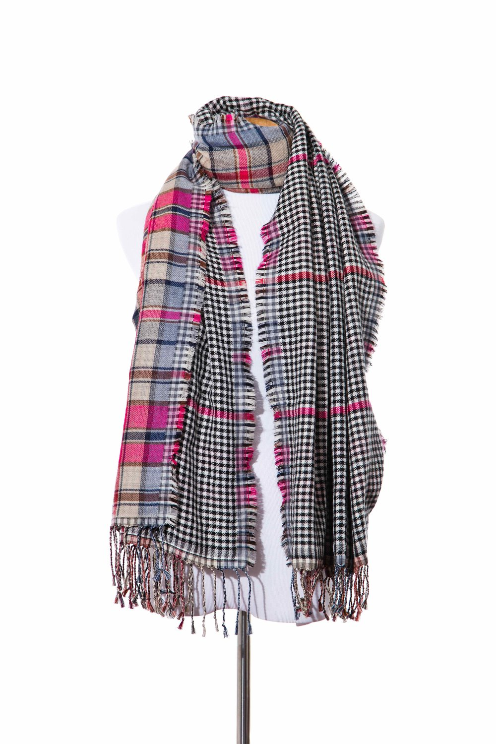 STYLE NO:# 11008  COLOR: PINK BLACK MULTI  QUALITY: 56% ACRYLIC 30%COTTON 14% WOOL  SIZE: 70 X 180 CM