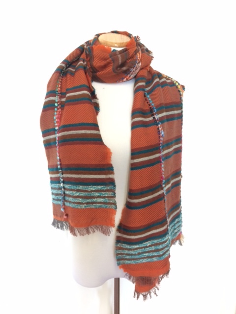 STYLE NO:# 11253  COLOR: ORANGE MULTI  QUALITY: 64% ACRYLIC28% COTTON6%WOOL2%POLY  SIZE: 70 X 180 CM
