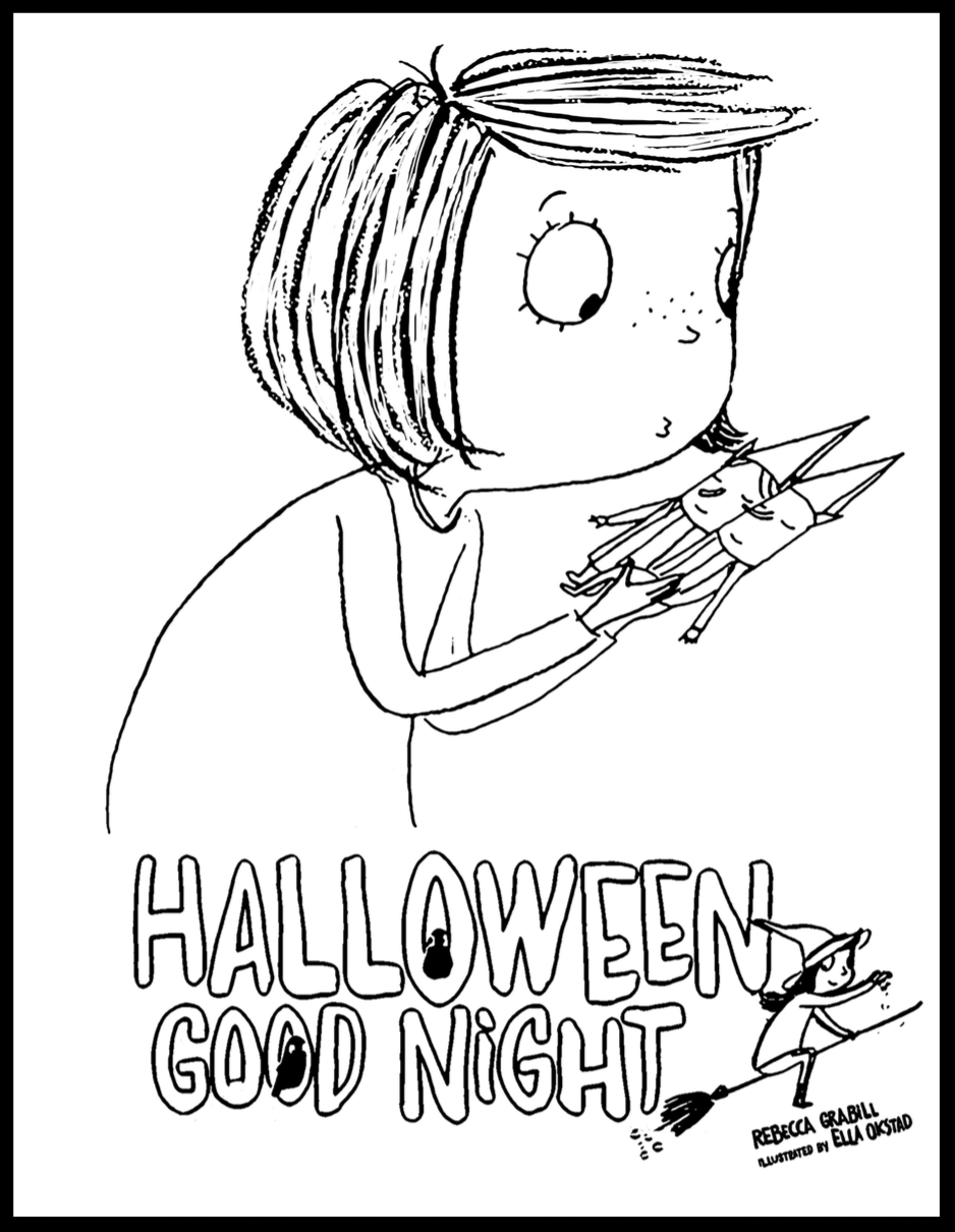 Halloween Good Night Coloring Page - free printable preschool craft!