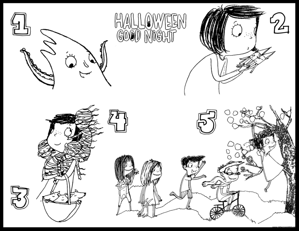 Counting 1-5 Halloween Good Night Coloring Page